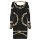 WW-2403 Fashionable Round Neck Long-sleeved Slim Cotton Dress - Black + Golden (Size M)