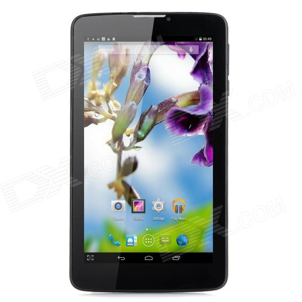Z11 7 MTK8382 Quad-Core Android 4.4 Tablet PC w/ 512MB RAM, 8GB ROM, 3G, Bluetooth, GPS, FM - Black zgpax s5 watch smart phone dual core 1 54 inch capacitive touch screen android 4 0 512mb ram 4g rom 2mp camera with gps silver black