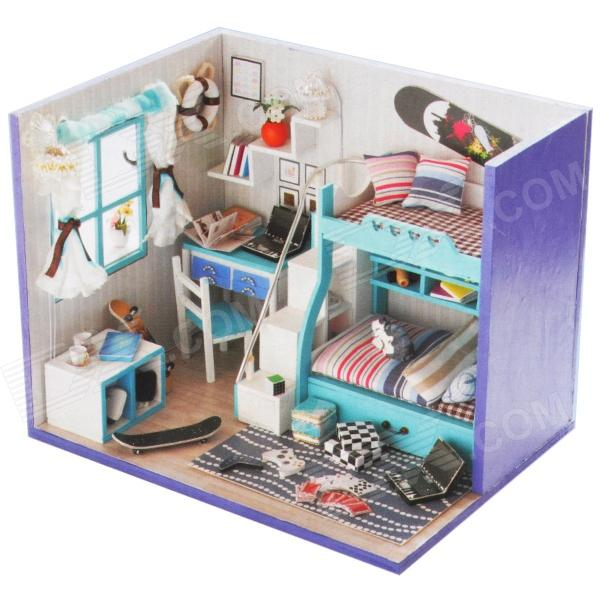 DIY Creative Cute Wooden House Model Toy - Blue + Black + Multi-Colored