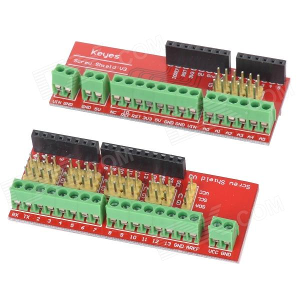 KEYES Extension Board Module for Screw Shield V3 (Compatible w/ UNO R3) - Red (2 PCS) modules genuine for intel galileo gen 2 development board quark soc x1000 400mhz 256m compatible with arduino uno r3 shield