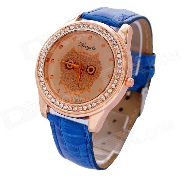 Women's Stylish PU Leather Band Rhinestone Inlaid Quartz Analog Wrist Watch -  Gold + Blue (1 x 626)