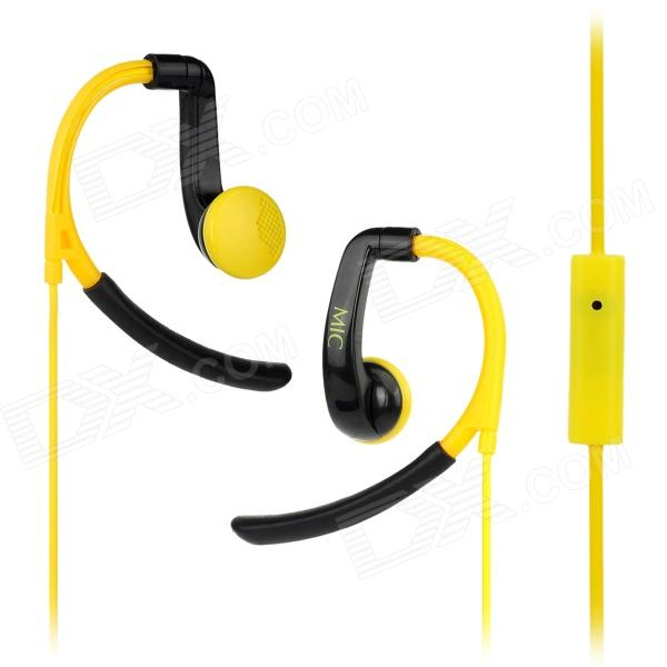 IN-042 Sports In-Ear Earphone w/ Mic for IPHONE, Samsung, HTC, Xiaomi - Black + Yellow original xiaomi mi hybrid earphone in ear 3 5mm earbuds piston pro with microphone wired control for samsung huawei p10 s8