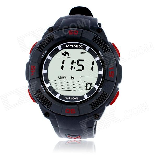 XONIX JAP Waterproof Electronic Calorie Pedometer / Quartz Digital Sports Watch w/ Backlight - Black 100% brand new abs material black color digital keychain breathalyzer fit alcohol tester with red backlight pft68s