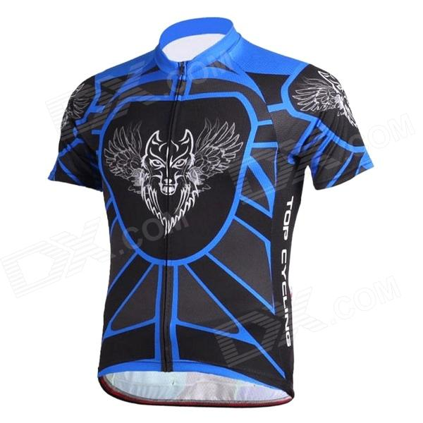 TOPCYCLING SAD205 Outdoor Cycling Sweat-absorbing Greige Yarn Short Jersey Top - Black + Blue (L) topcycling sad209 outdoor cycling men s short jersey clothes black white size l