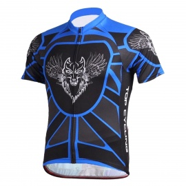 TOPCYCLING SAD205 Outdoor Cycling Sweat-absorbing Greige Yarn Short Jersey Top - Black + Blue (L)