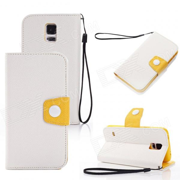 Elonbo Rround Button Leather Flip Stand Full Body Case with Window for Samsung Galaxy S5 - White miniisw c 3 pu leather flip open case w display window for samsung galaxy s5 off white black
