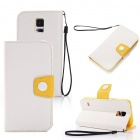 Elonbo Rround Button Leather Flip Stand Full Body Case with Window for Samsung Galaxy S5 - White
