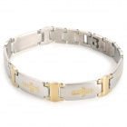 SHIYING SLX000026 Men's Cross Style 316L Stainless Steel Bracelet - Golden + Silver