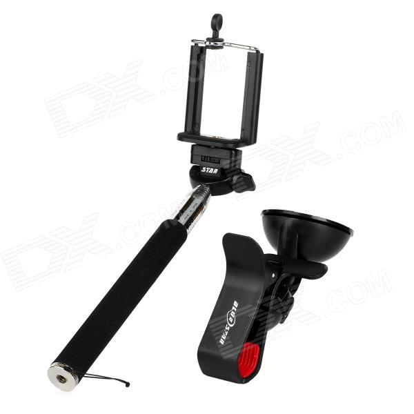 Retractable Selfie Monopod w/ Holders / Adapter for Samsung / HTC / IPHONE + More - Black retractable rotary handheld abs aluminum monopod w holder for iphone more sky blue black
