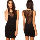 Stylish See-through Lace Back Skinny Tight Mercerized Cotton Party Dress - Black (Size S)