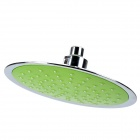 "B58 8"" Ultra-thin Round Rainfall Chrome-plated ABS Shower Head - Green + Silver"