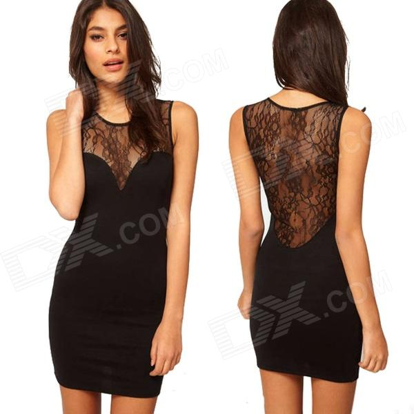 Stylish See-through Lace Back Skinny Tight Mercerized Cotton Party Dress - Black (Size XL)