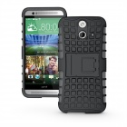 2-IN-1 Protective TPU + PC Back Case w/ Holder for HTC E8 - Black