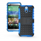 Protective TPU + PC Case w/ Holder for HTC E8 - Blue