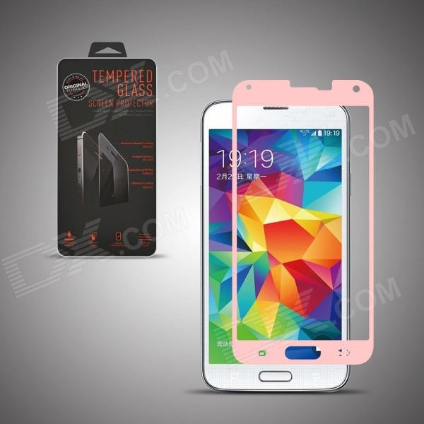 Angibabe Premium Tempered Glass Front Protector Film for Samsung Galaxy S5 - Pink premium real tempered glass screen protector for samsung galaxy s5