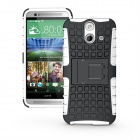 2-in-1 Protective TPU + PC Back Case w/ Holder for HTC E8 - White + Black