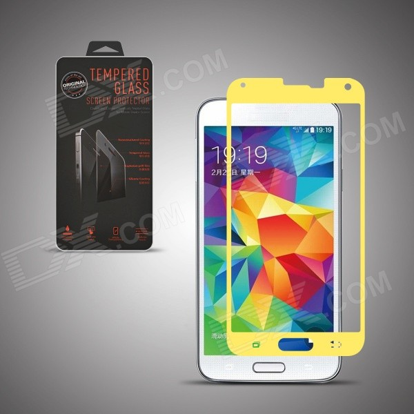 Angibabe Premium Tempered Glass Protector Film for Samsung Galaxy S5 - Yellow tempered glass film for samsung a5