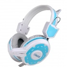 BLUELOVER D300 PC Gaming Headband Headphone w/ Microphone / Remote - Blue + White + Grey