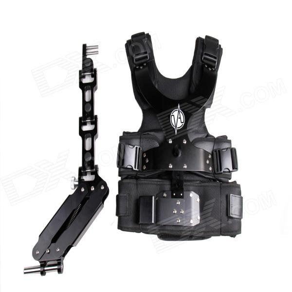 DEBO DS-1 Professional Photographing Shooting Vest + Single Mechanical Arm Set - Black professional 7005 aluminum alloy tube clap long track ice blade 64hrc high quality dislocation skate shoes knife 1 1mm frame
