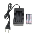 UltraFire EU Plug Battery Charger + 1100mAh 18650 Battery - Grey+Black
