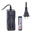 UltraFire U-200 US Plug Battery Charger + 4.2V 1100mAh 18650 Battery Set - Black + Red (100~240V)