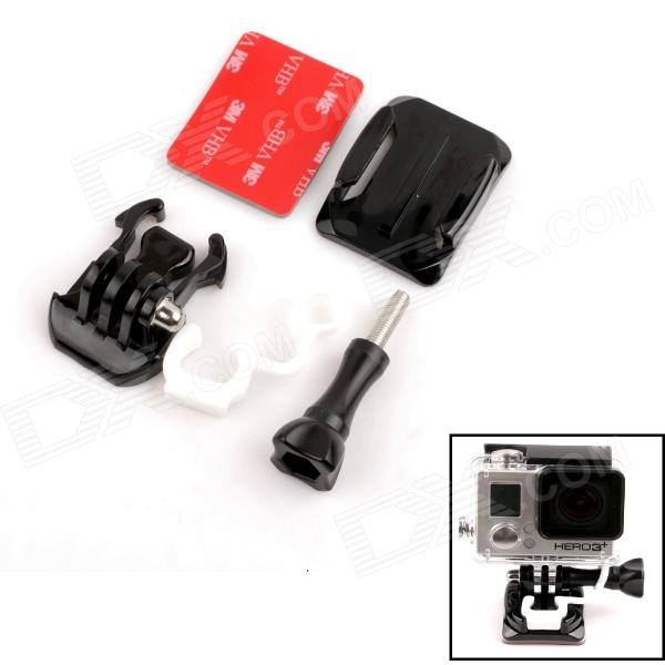 PANNOVO Riding Skydiving Curve Surface Helmet Mount Set for Gopro Hero 4/ 2/3/3+ / SJ4000 - Black pannovo g 563w sports ski surf wakeboard mount set for gopro hero 4 2 3 3 sj4000 white