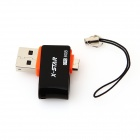X-STAR Portable Rotary OTG USB / Micro USB Flash Disk for Data / Mobiltelefoner - Svart (8GB)
