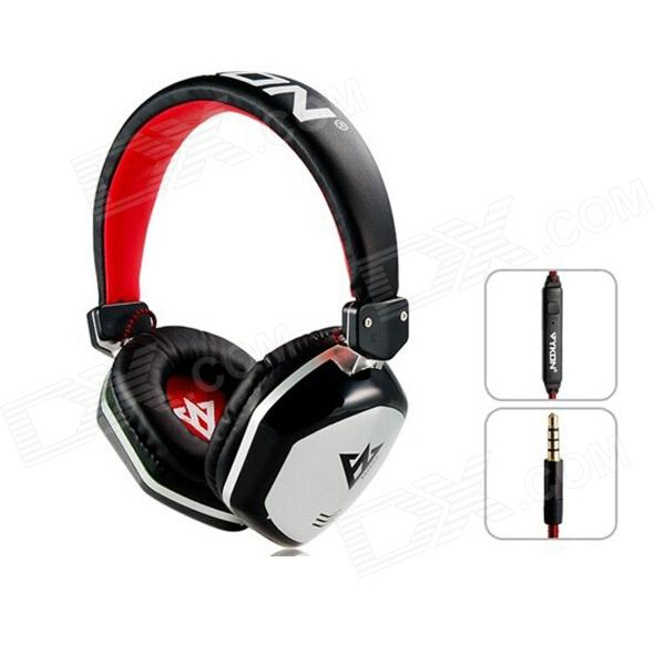 MQ22 3.5mm Wired Headband Headphone w/ Microphone for APPLE Devices - Black + Red + Silver cute personality cat ears wired headband headset hair head wear led headphone for girls kids