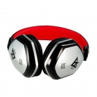 MQ22 3.5mm Wired Headband Headphone w/ Microphone for APPLE Devices - Black + Red + Silver
