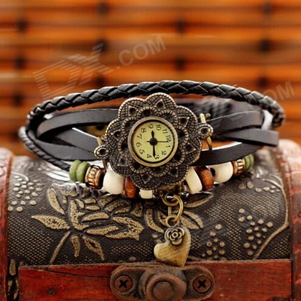 ZQ-028 Love Rose Bracelet Style Split Leather Band Analog Quartz Wristwatch - Coffee (1 x AG4) split leather band analog quartz watch handwork retro style bracelet for women 1 x ag4