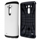 Fashion PC and Silicone Hybrid Slim Armor Case with Anti-shock Grid Design for LG G3 - White