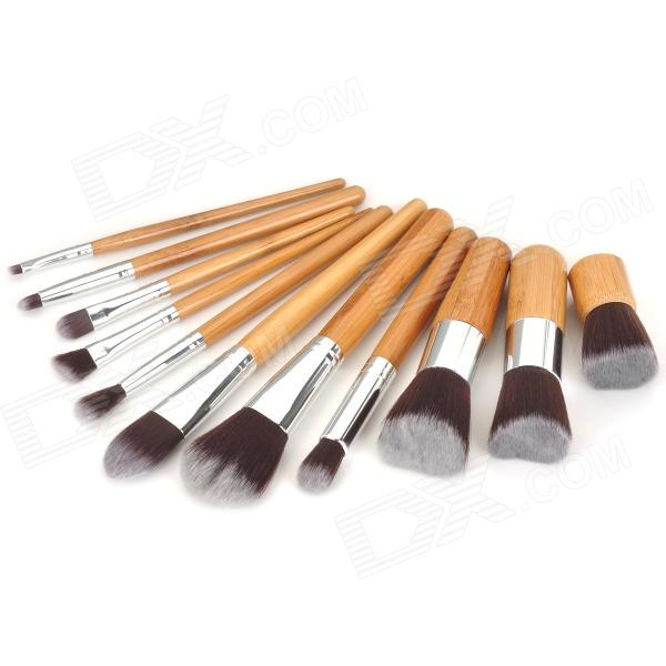 LIT 11-in-1 Professional Cosmetic Makeup Brushes Set - Brown +  Coffee (11 PCS)