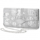 Fashionable Women's PU Cover Opening Messenger Bag / Tote Bag w/ Chain - Silver
