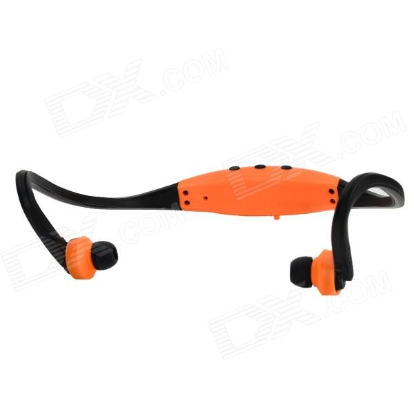 Outdoor Sports Running Wireless In-Ear MP3 Player Headset Headphone w/ FM - Black + Orange
