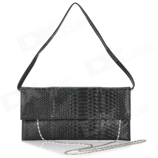 Fashionable Women's PU Cover Opening Messenger Bag / Tote Bag - Black