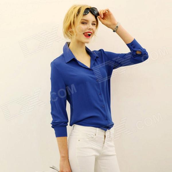 Women's Stylish Chiffon Long-Sleeved Blouse Shirt - Deep Blue (L)