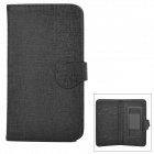 "Universal Protective Flip Open PU Case Cover w/ Card Slot for 5.3"" Cellphones + More - Black"