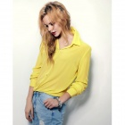 Women's Stylish Chiffon Long-Sleeved Blouse Shirt - Yellow (L)