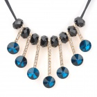 Women's Bohemia Tassel Style Zinc Alloy + Rhinestone Pendant Necklace - Black + Deep Blue