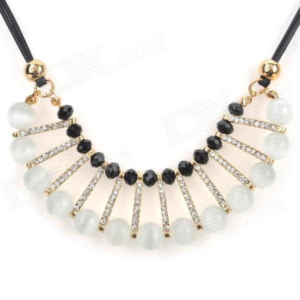 Women's Opal + Rhinestone + Zinc Alloy Pendant Necklace - White + Black + Multi-Color