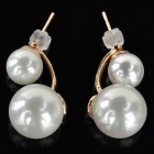Women's Elegant Zinc Alloy + Pearl Earrings - White + Golden (Pair)