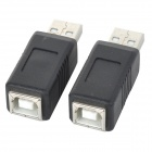 Hongyang T01 USB 2.0 Male to Printer Female Adapter / Converter - Black + Silver (2PCS)