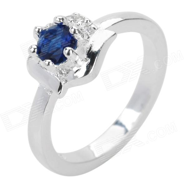 Women's Copper Plating Silver Ring - Silver + Blue (U.S Size 8)