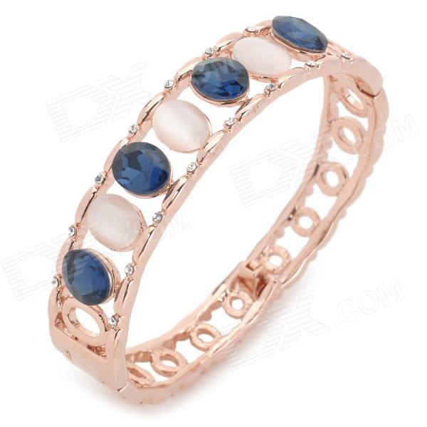 Fashionable Women's Zinc Alloy + Opal + Rhinestone Bracelet - Golden + Deep Blue