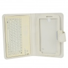 "Water Resistant 77-Key Bluetooth V3.0 Keyboard w/ PU Case + Stand for 7"" Samsung Tab4 T230 - White"
