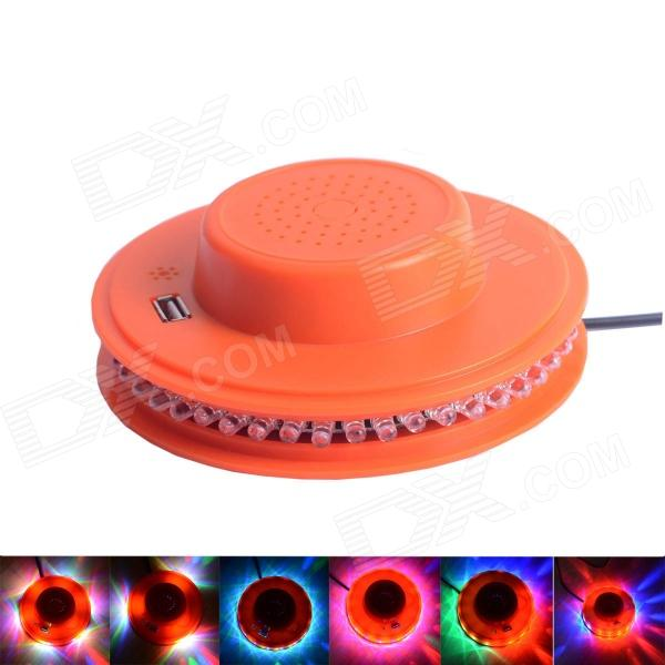 Sunflower RGB 48-LED Light Sound Control Stage Lamp w/ USB Flash Drive MP3 Player - Orange