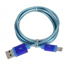 V8 Universal USB Male to Micro USB Male Data Sync & Charging Cable w/ Knitted Housing - Blue