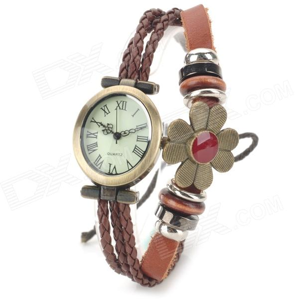 Women's Roman Numerals Bracelet Style PU Band Analog Quartz Wrist Watch - Brown + Bronze (1 x 377) stylish bracelet band quartz wrist watch golden silver 1 x 377