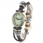Women's Roman Numerals Bracelet Style PU Band Analog Quartz Wrist Watch - Deep Brown + Bronze
