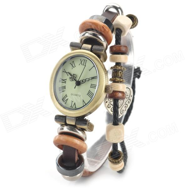 Women's Roman Numerals Bracelet Style PU Band Analog Quartz Wrist Watch - Bronze + Brown (1 X 377) stylish bracelet band quartz wrist watch golden silver 1 x 377